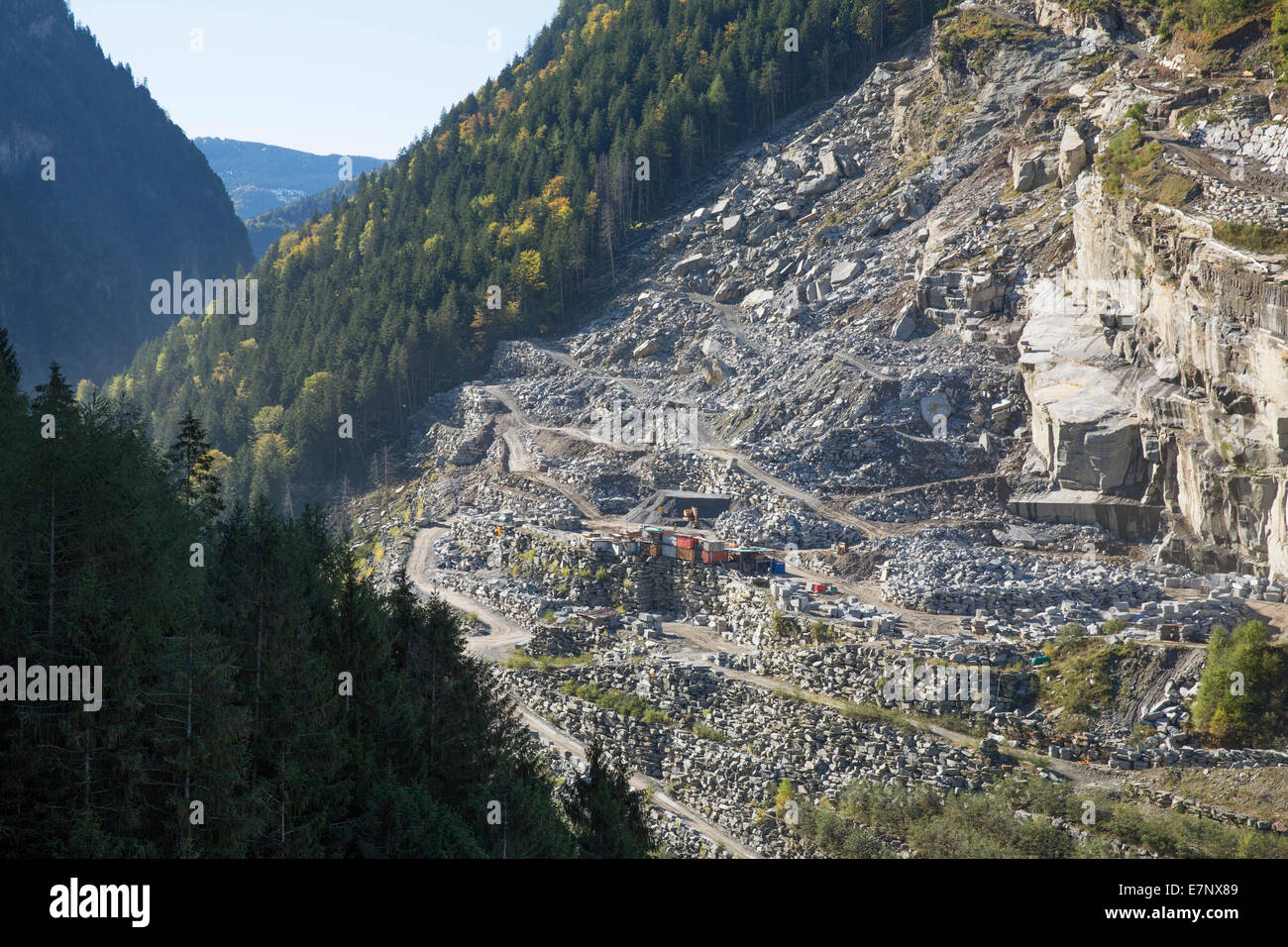 Calanca valley, stone quarry, Arvigo, Calanca valley, autumn, mountain, mountains, canton, GR, Graubünden, - Stock Image