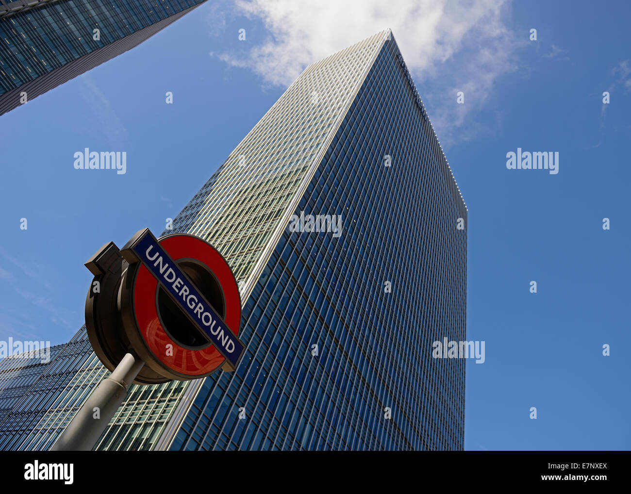 London Underground Station Sign and Office Buildings, Bank Street, Canary Wharf, London, UK. - Stock Image