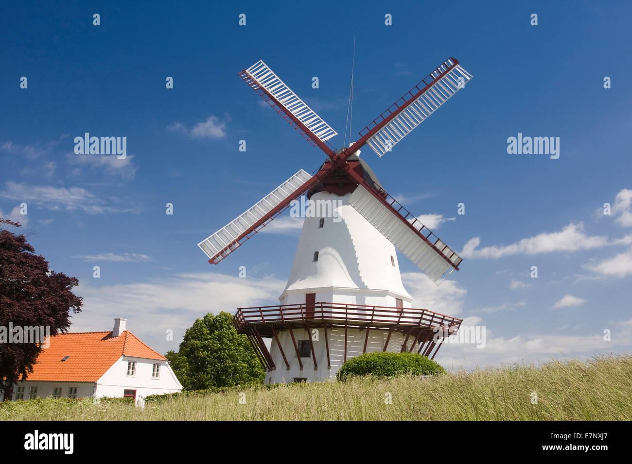 Building, Denmark, memorial, history, historically, museum, mill, Northern Europe, Scandinavia, Sonderburg, windmill, - Stock Image