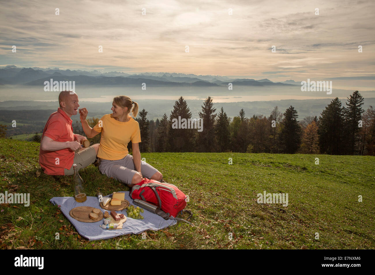 Picnic, Bachtel, Zurich lake, view, Alpine chain, canton Zurich, mountain, mountains, food, eatings, sport, spare - Stock Image
