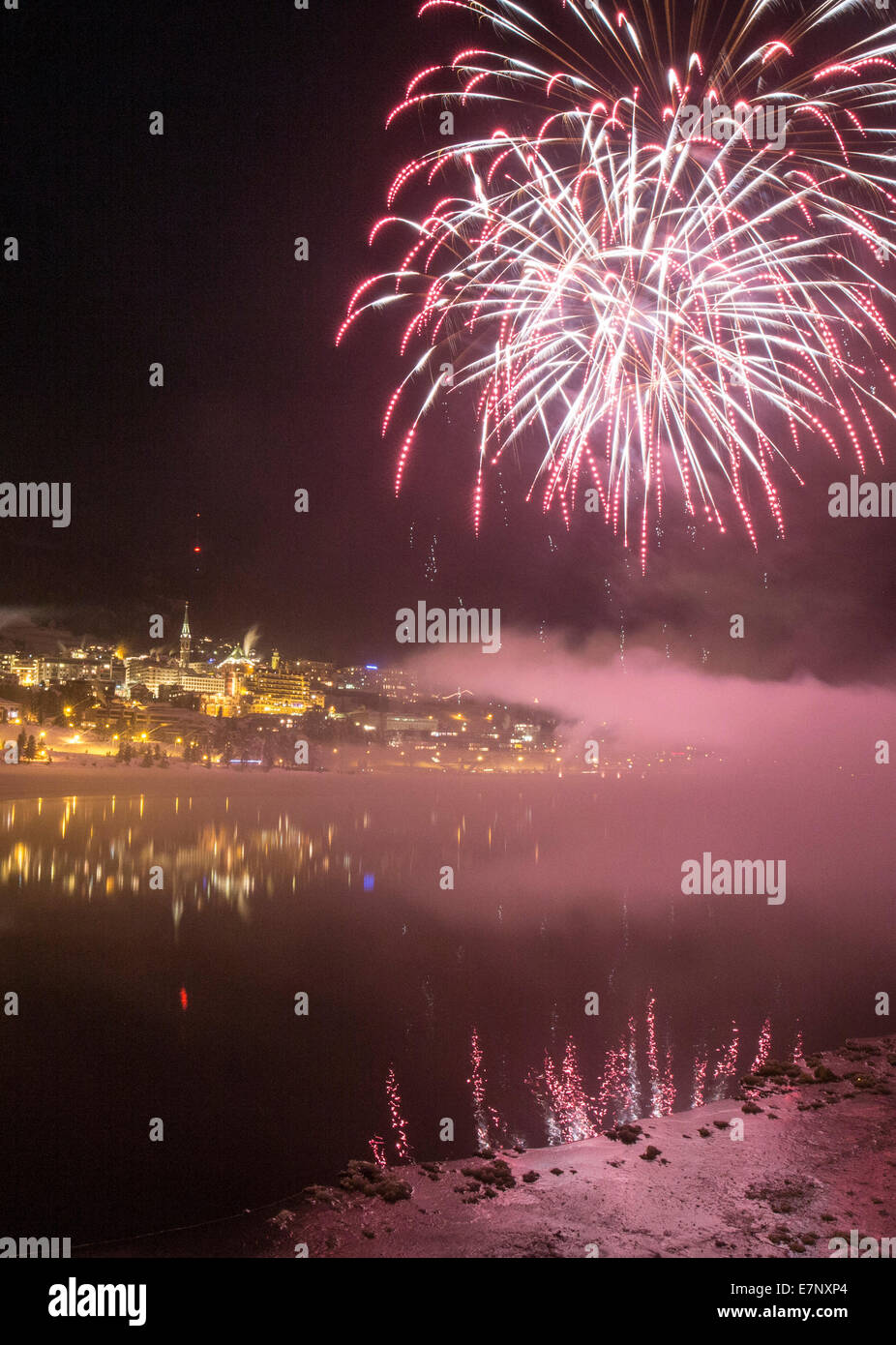 Saint Moritz, St. Moritzersee, New Year, fireworks, Saint Moritz, St. Moritz, village, festival, Openair, event, - Stock Image