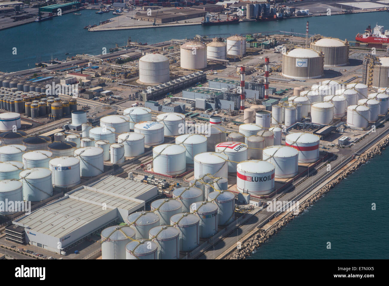 aerial, Barcelona, Catalonia, city, tanks, gas, harbour, industry, panorama, port, Spain, oil, energy - Stock Image