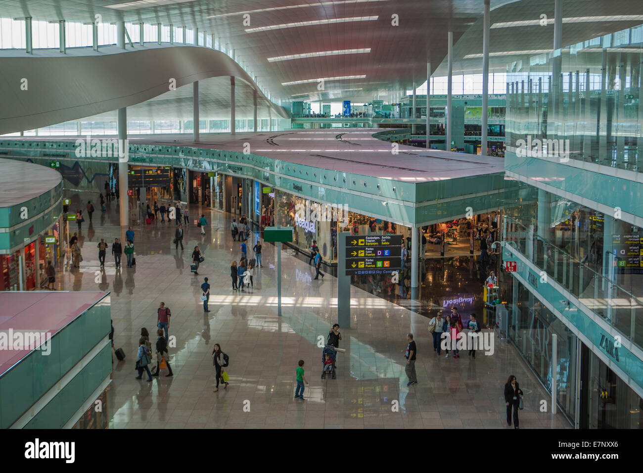 Airport, Barcelona, Catalonia, City, Spain, Europe, Terminal, inside, architecture, hall, new, tourism, transit, - Stock Image