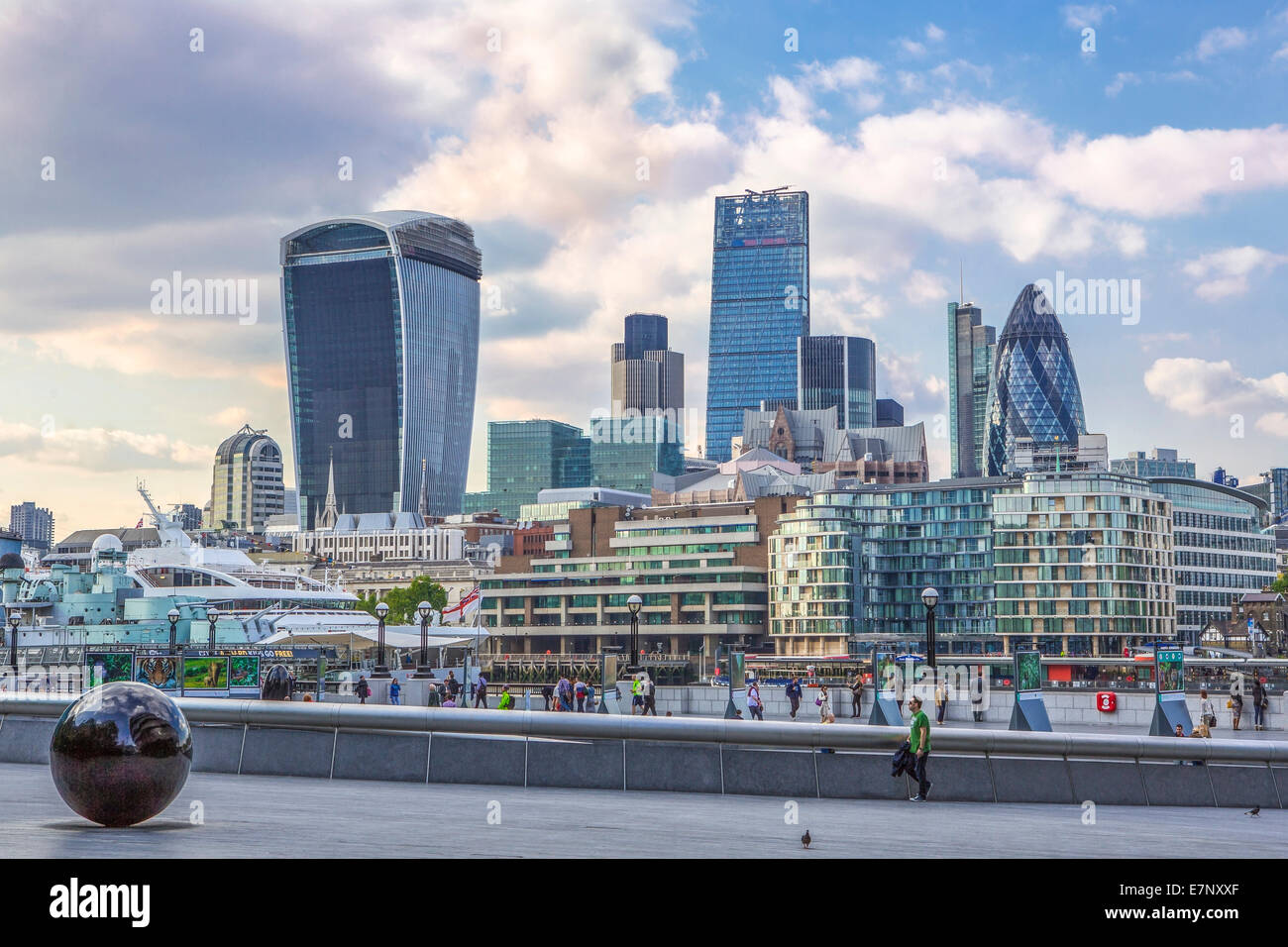 City, London, England, UK, architecture, ball, famous, skyline, Thames, river, tourism, travel - Stock Image