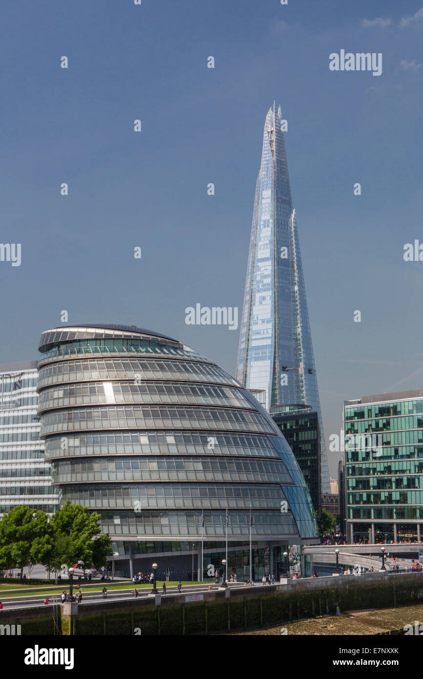 Building, City, City Hall, London, England, Shard, UK, architecture, new, tourism, tower, travel, More London, - Stock Image