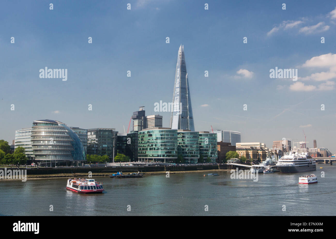 Building, City, City Hall, London, England, Shard, UK, architecture, boat, new, river, Thames, river, tourism, tower, - Stock Image