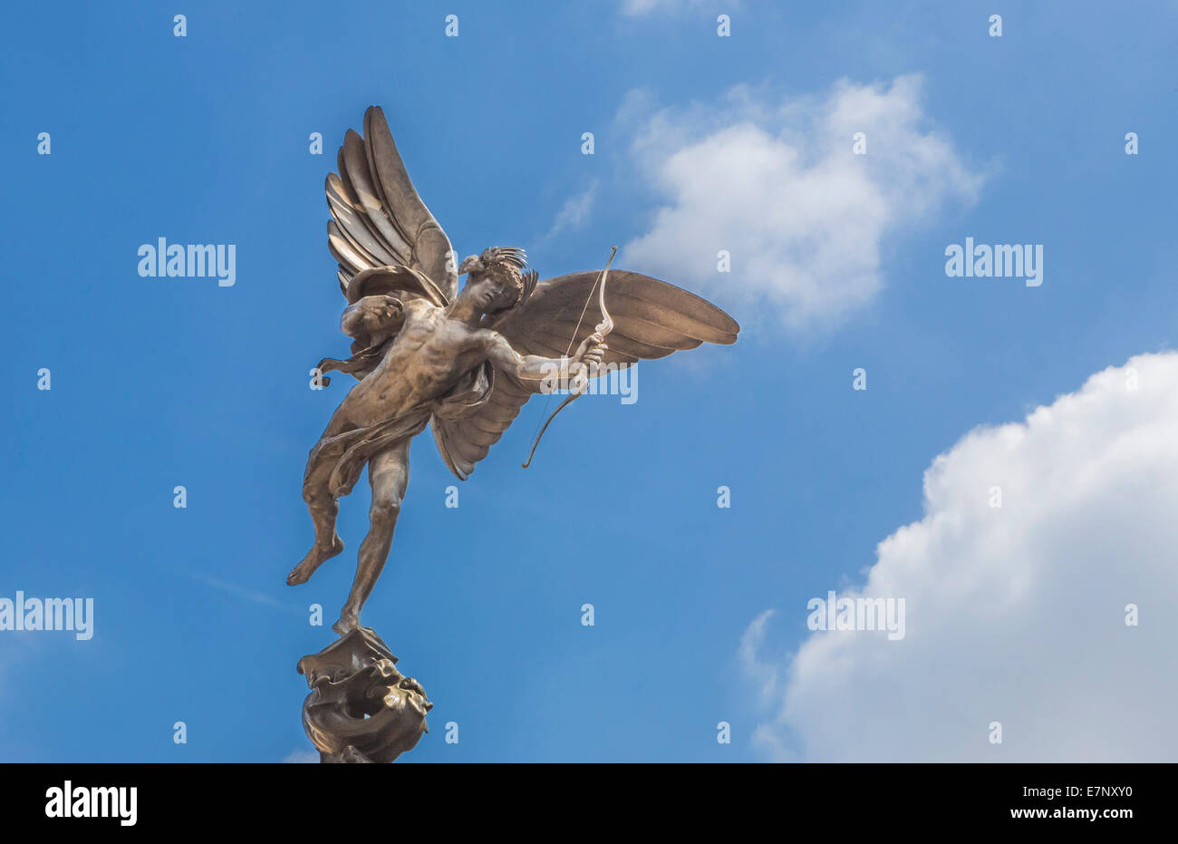 Piccadilly Circus, City, London, England, UK, angel, famous, love, sculpture, tourism, travel, wings, Eros, - Stock Image