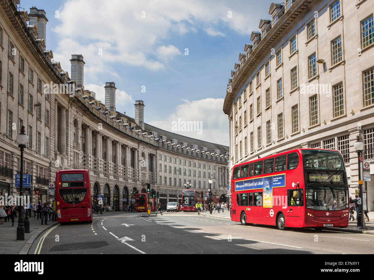 City, London, England, UK, architecture, bus, famous, red, shopping, street, tourism, travel - Stock Image