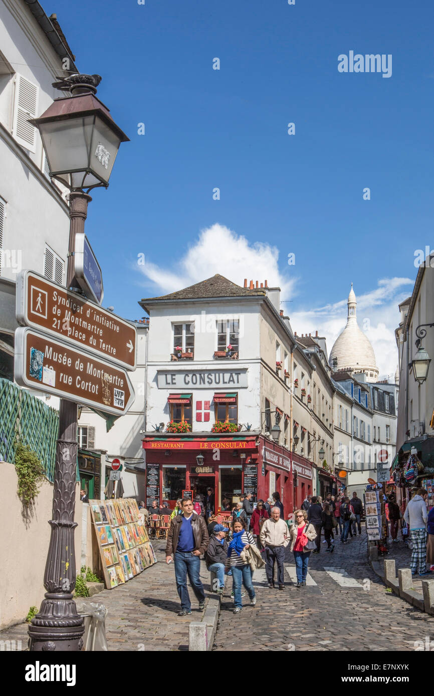 Basilica, church, City, District, France, Montmartre, Norvins, Paris, Sacre Coeur, architecture, artists, famous, - Stock Image