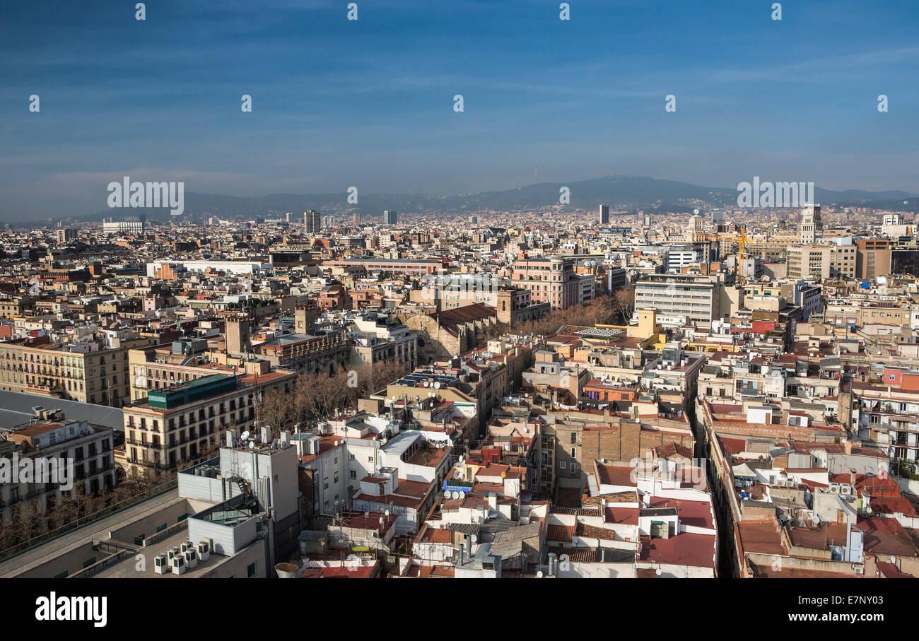 Barcelona, Catalonia, City, Ciutat Vella, Old Town, Spain, Europe, architecture, downtown, panorama, ramblas, roofs, - Stock Image