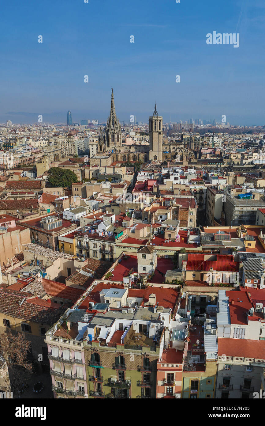 Barcelona, Catalonia, Cathedral, City, Ciutat Vella, Old Town, Spain, Europe, agbar, architecture, belfry, downtown, - Stock Image