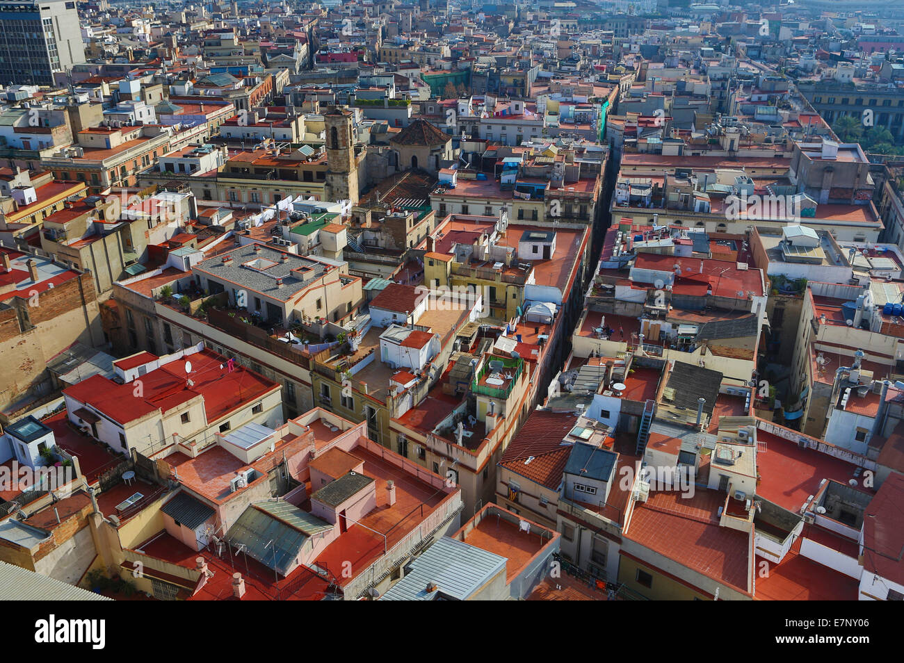 Barcelona, Catalonia, City, Ciutat Vella, Old Town, Spain, Europe, agbar, architecture, downtown, roofs, skyline, - Stock Image