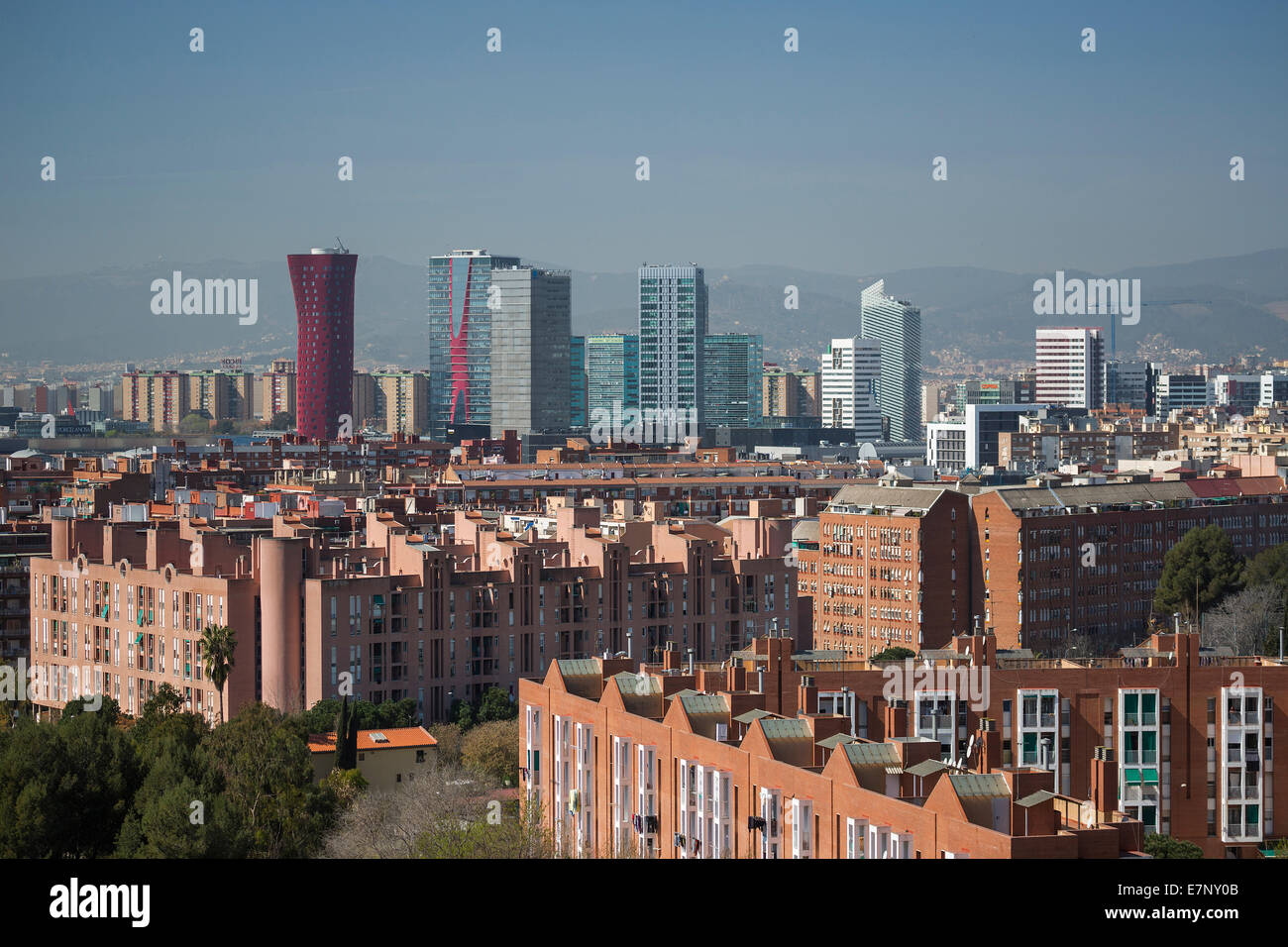 Barcelona, Catalonia, City, Europa Square, Hospitalet, Spain, Europe, architecture, new, roofs, skyline, tourism, - Stock Image