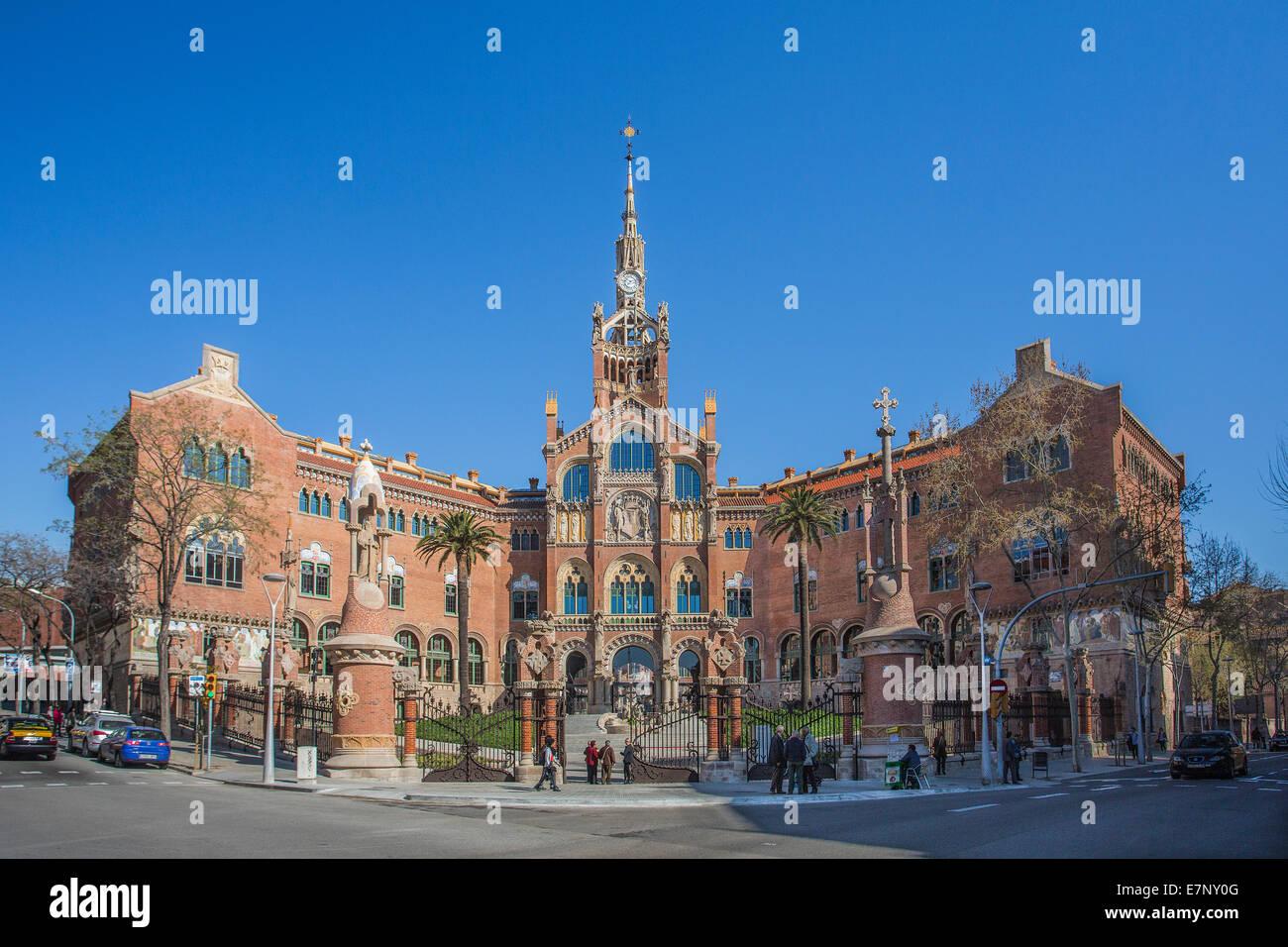 Barcelona, Catalonia, City, Domenech i Montaner, Montaner, Entrance, Hospital, Spain, Europe, St. Pau, St. Paul, - Stock Image