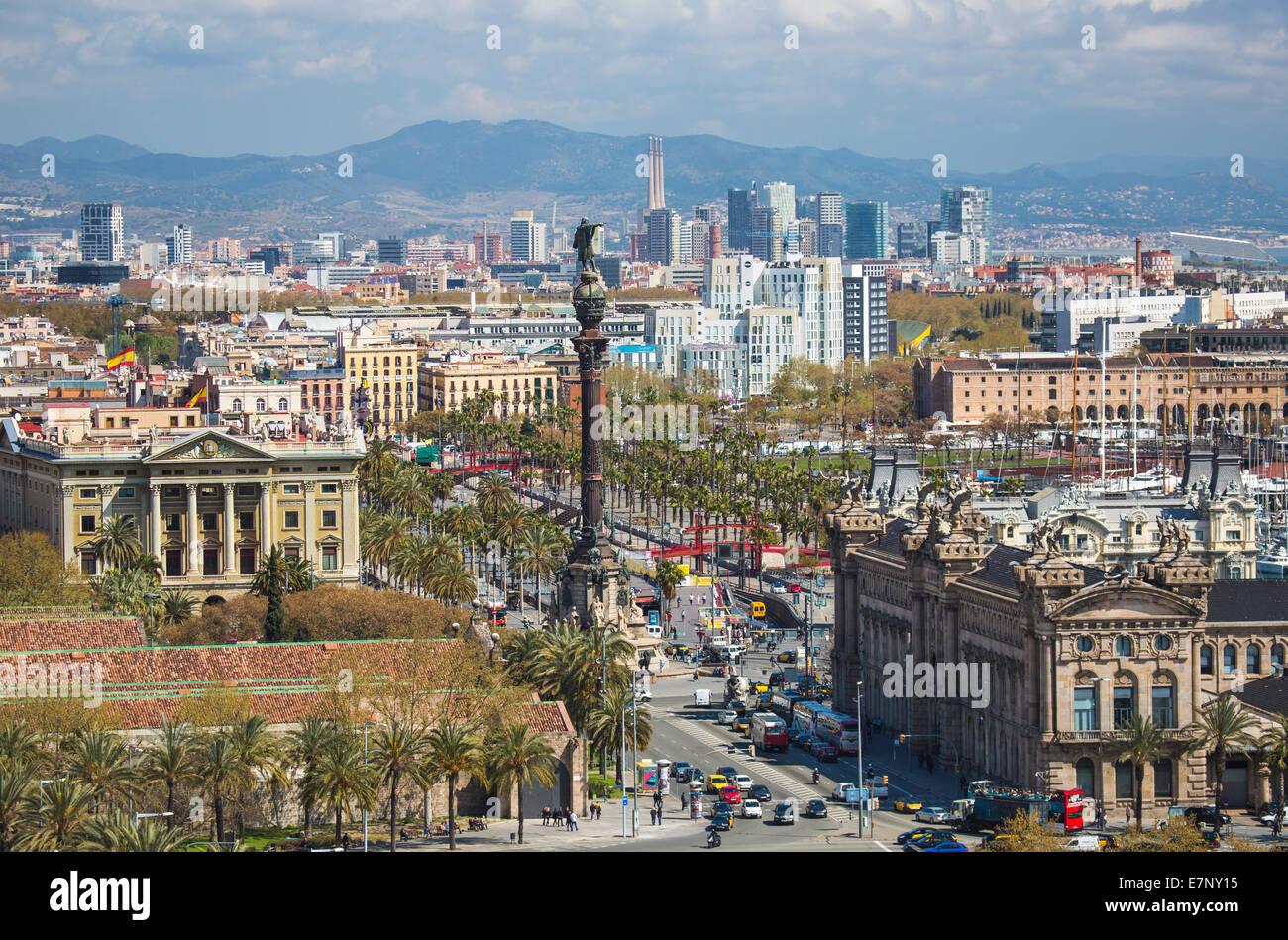 Barcelona, Catalonia, City, Ciutat Vella, Spain, Europe, architecture, atarazanas, Columbus, colon, diagonal mar, - Stock Image