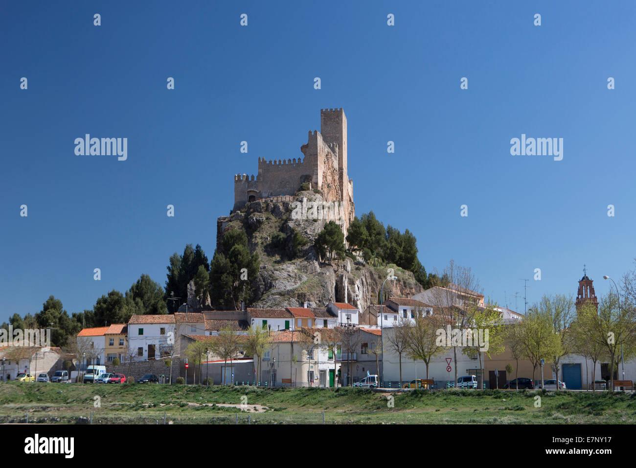 Albacete, Almansa, Castile, Castle, City, Spain, Europe, architecture, history, la Mancha, skyline, tourism, travel - Stock Image