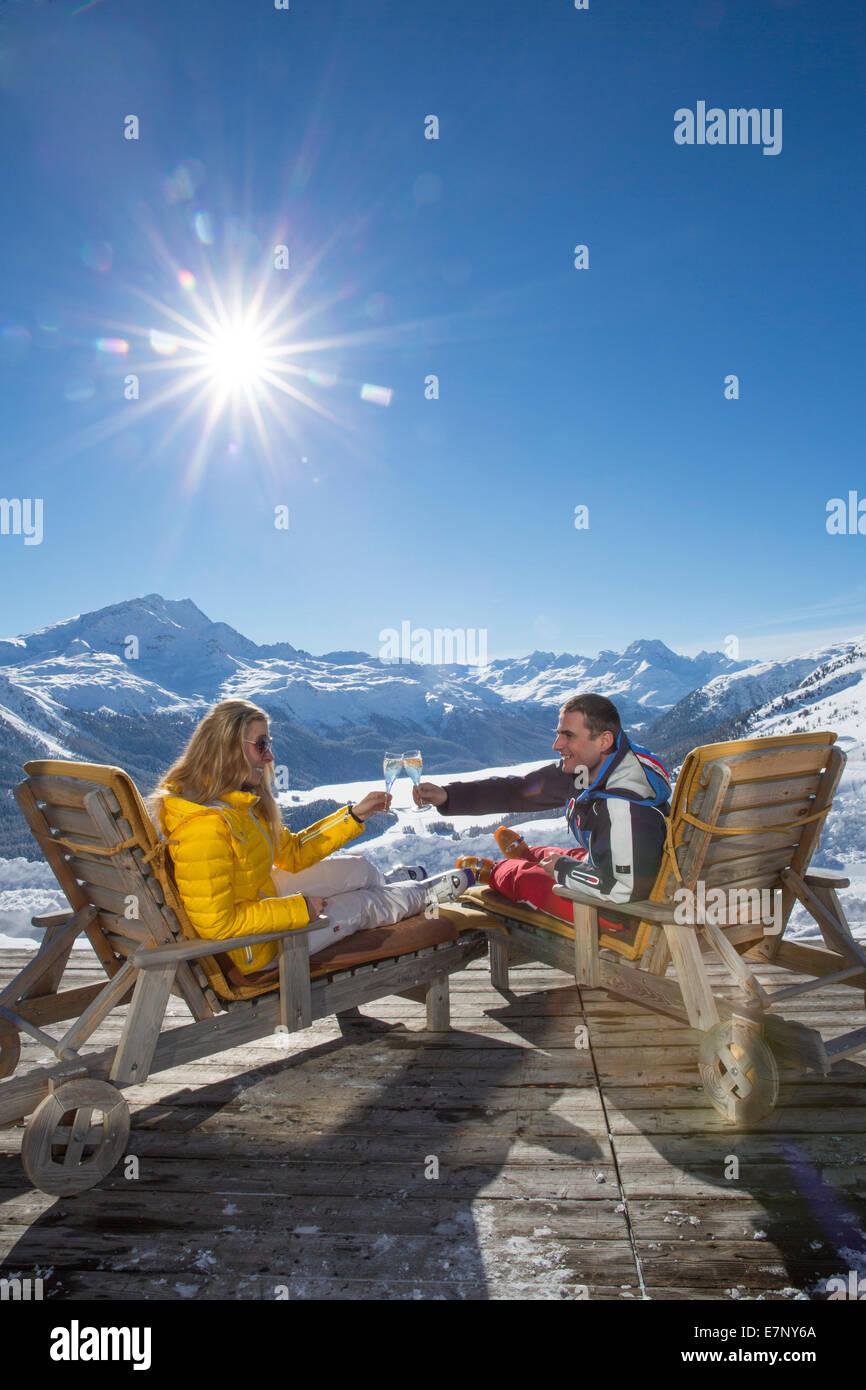 Corviglia, couple, to deck chairs, Trutzhütte, Corviglia, Saint Moritz, St. Moritz, canton, GR, Graubünden, - Stock Image