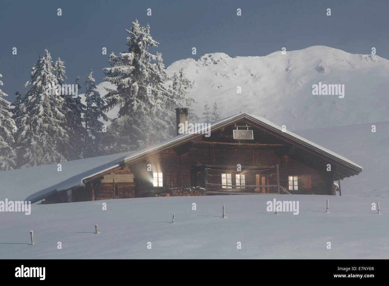 alpine cabin, Jaunpass, mountain, mountains, hut, house, alpine cabin, winter, canton Bern, Switzerland, Europe, - Stock Image