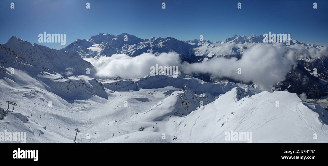 Winter, skiing area, Verbier, Grand Combin, winter, canton, VS, Valais, mountain, mountains, ski, skiing, Carving, Stock Photo