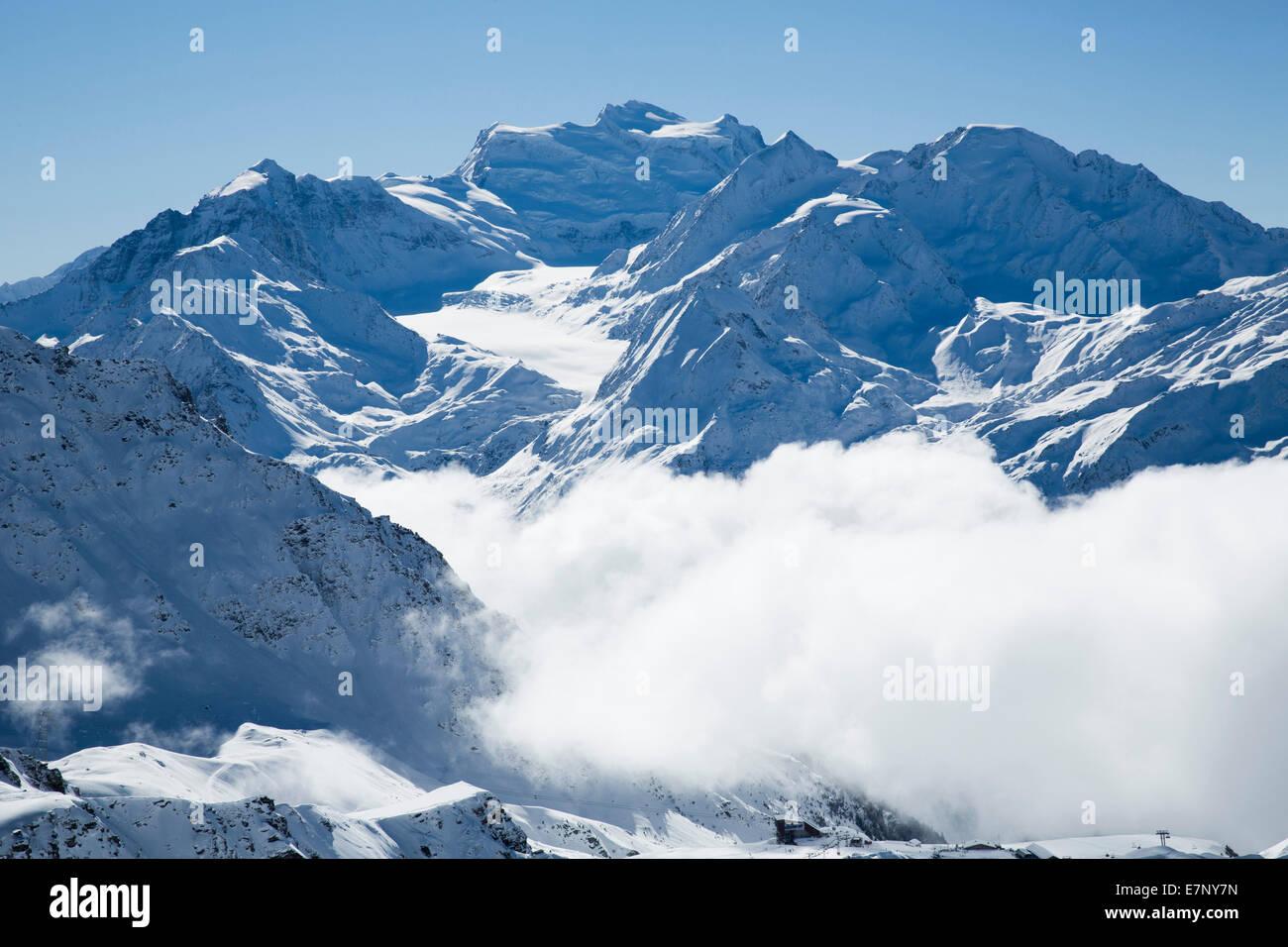 Winter, Grand Combin, winter, canton, VS, Valais, mountain, mountains, Switzerland, Europe, - Stock Image