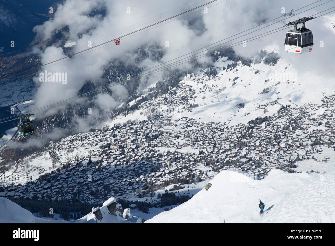 Winter, Verbier, Grand Combin, winter, canton, VS, Valais, mountain, mountains, hut, house, alpine cabin, village, - Stock Image