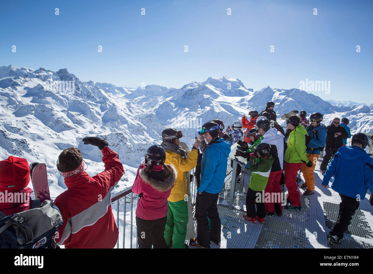 Mont fort, view, Mont fort, Grand Combin, winter, canton, VS, Valais, mountain, mountains, mountain road, Switzerland, - Stock Image