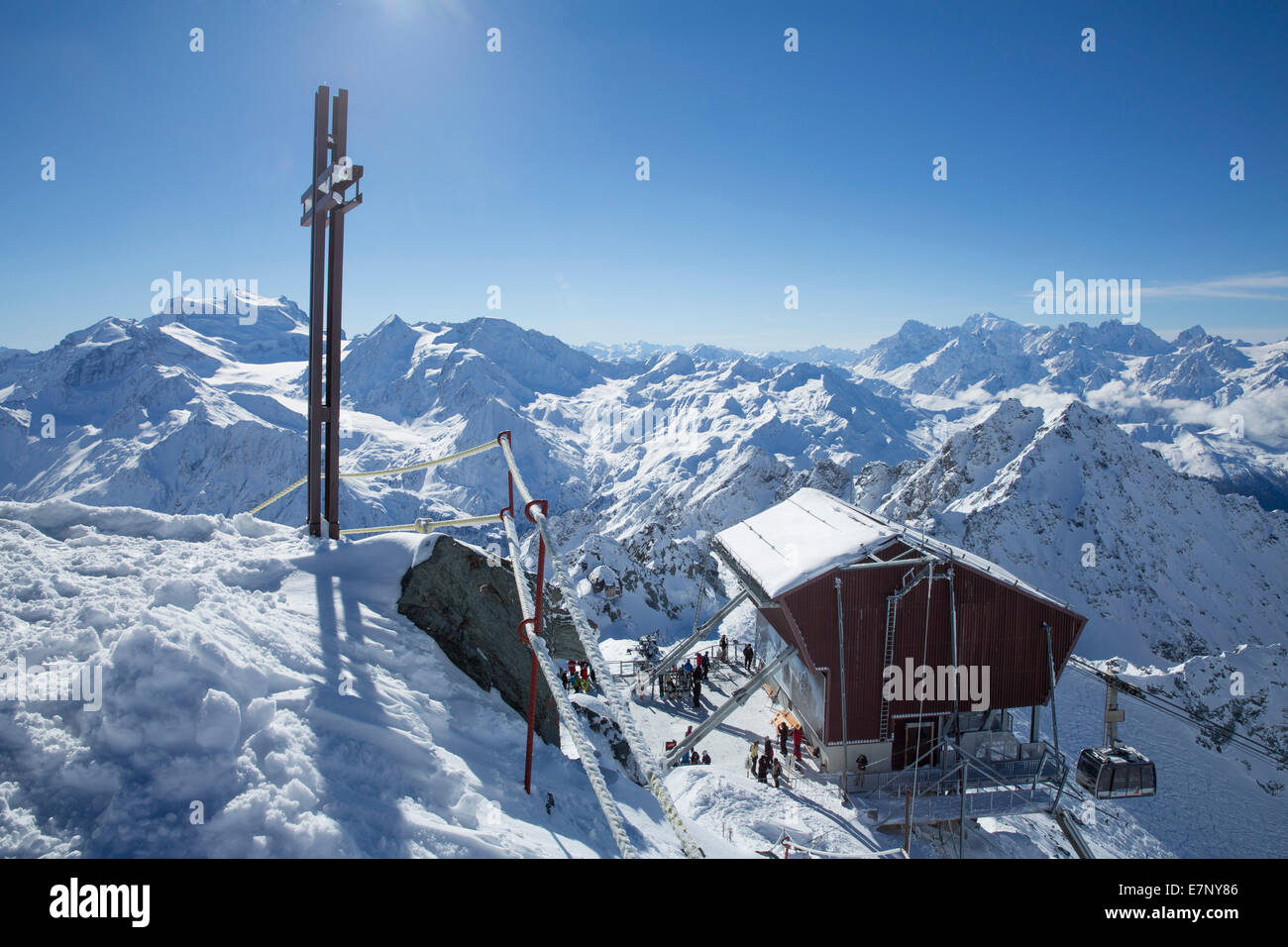 Mont fort, ropeway, cable railway, Mont fort, Verbier, view, Grand Combin, Montblanc, winter, canton, VS, Valais, - Stock Image