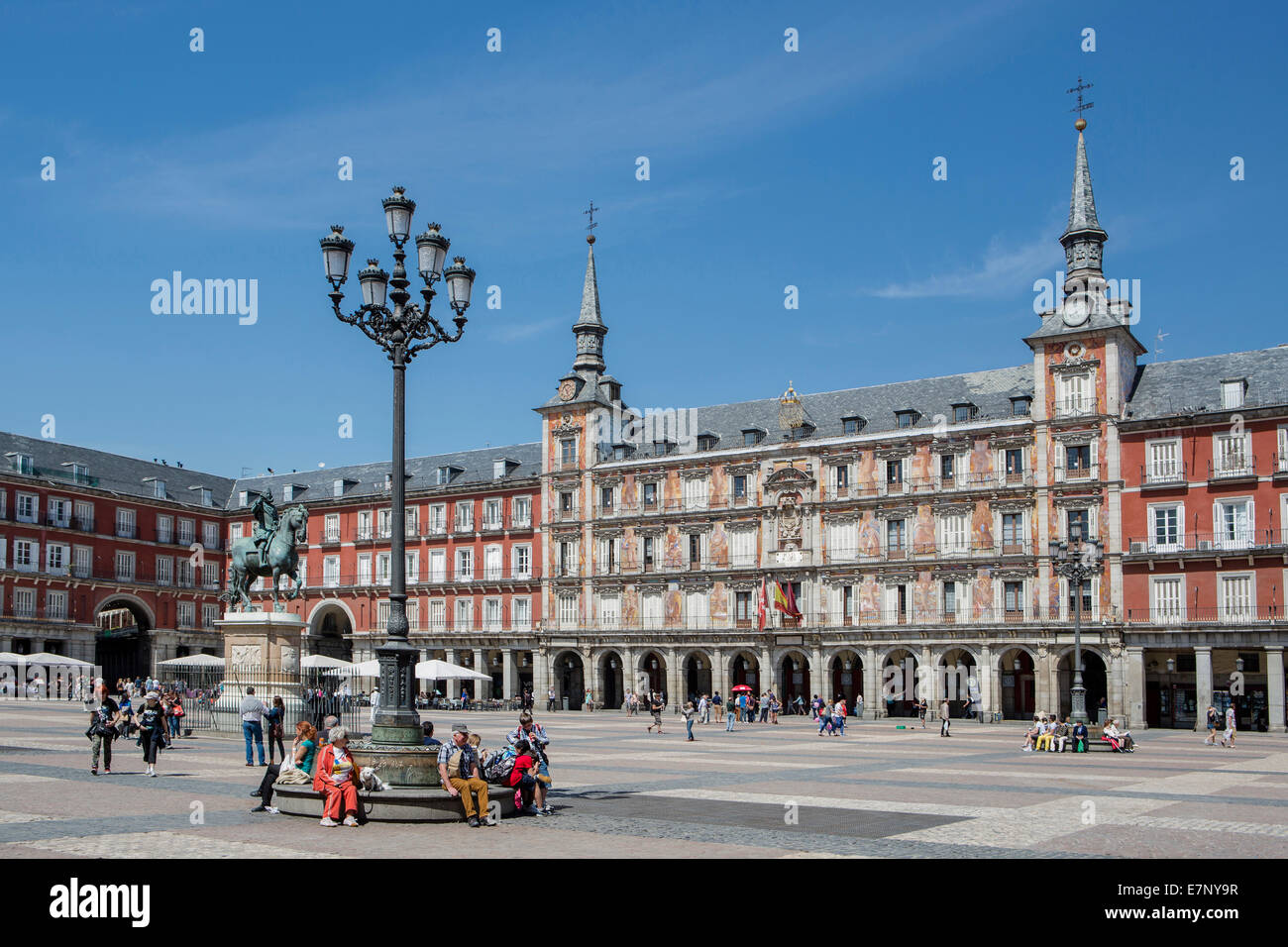 City, Madrid, Mayor, Philip III, Spain, Europe, Square, architecture, downtown, monument, plaza, tourism, travel - Stock Image