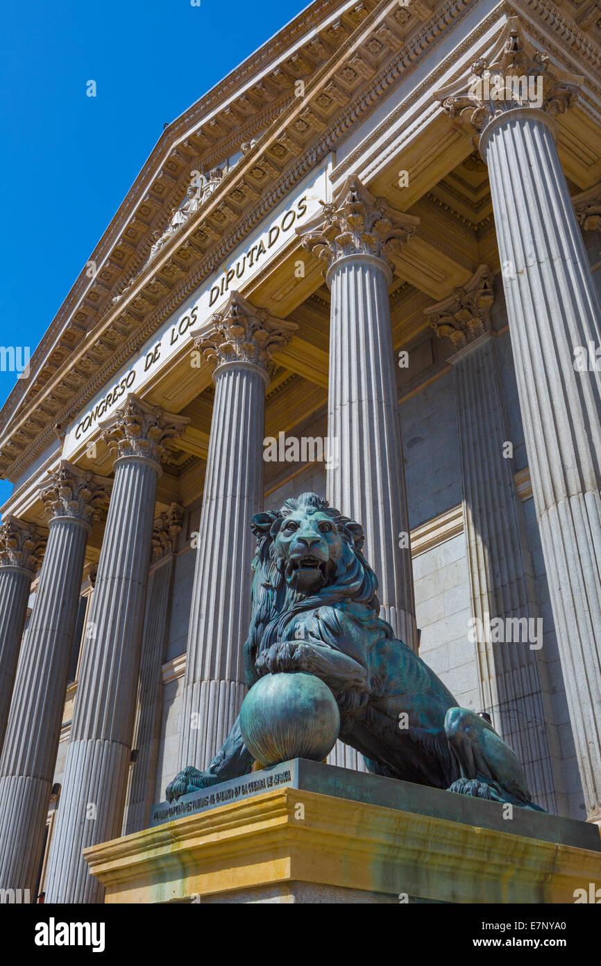 Building, City, Gate, Lion, Madrid, Parliament, Spain, Europe, architecture, downtown, tourism, travel - Stock Image