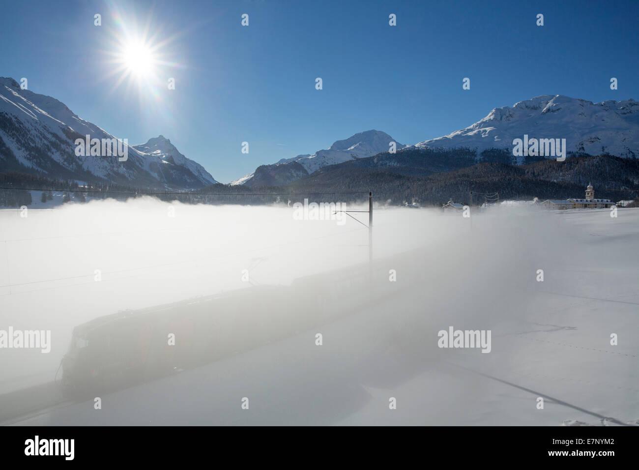 Engadin, Engadine, RHB Glacier express, Celerina, Inn, winter, canton, GR, Graubünden, Grisons, Upper Engadine, - Stock Image