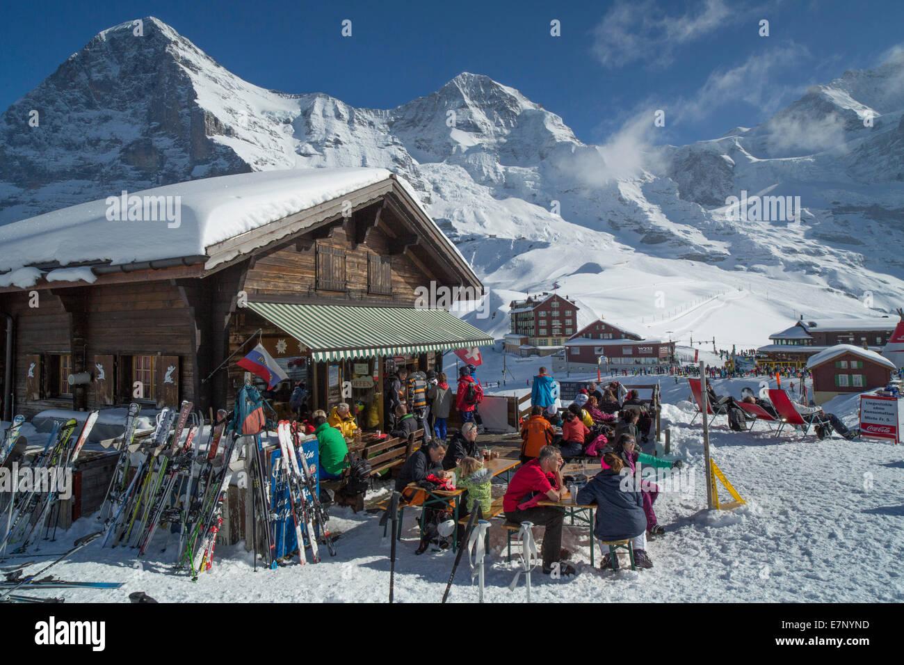 Ski, ski tourist, Kleine Scheidegg, Eiger, monk, Mönch, Jungfrau, mountain, mountains, ski, skiing, Carving, - Stock Image