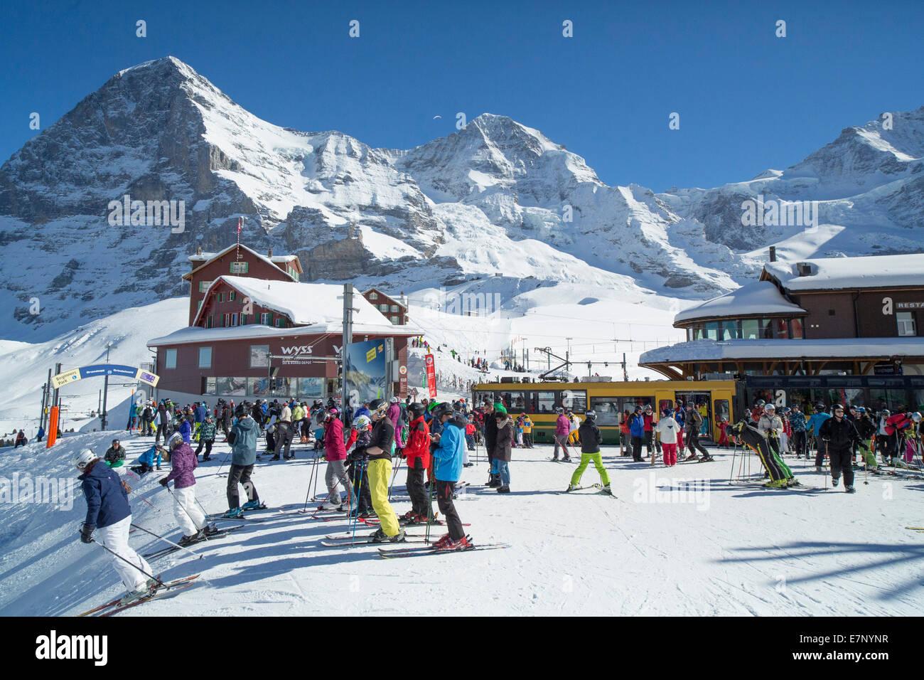 Jungfrau railroad, railway station, Kleine Scheidegg, mountain, mountains, winters, canton Bern, tourism, holidays, - Stock Image