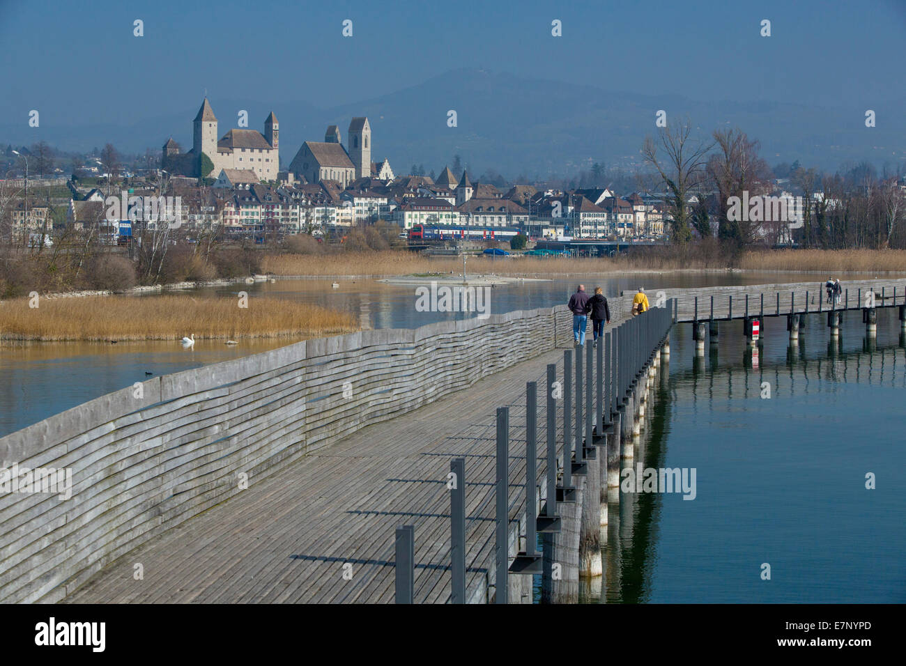 Zurich lake, Jakob's way, wooden footbridge, Rapperswil SG, spring, lake, lakes, town, city, SG, canton St. - Stock Image