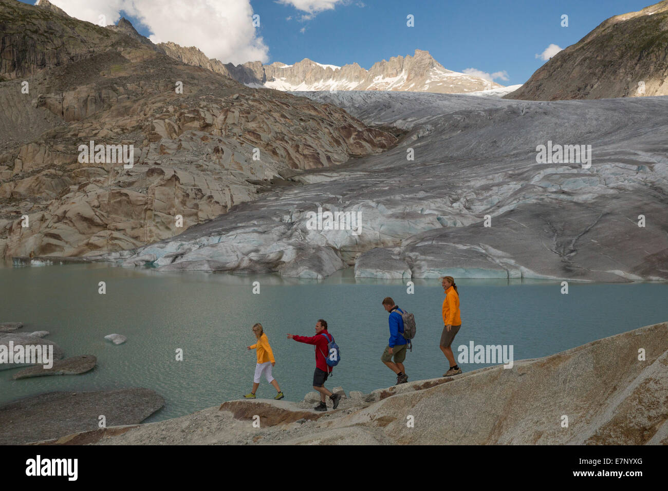 Gletsch VS, walking, hiking, Rhone glacier, Furka Pass, canton, VS, Valais, footpath, walking, hiking, glacier, - Stock Image