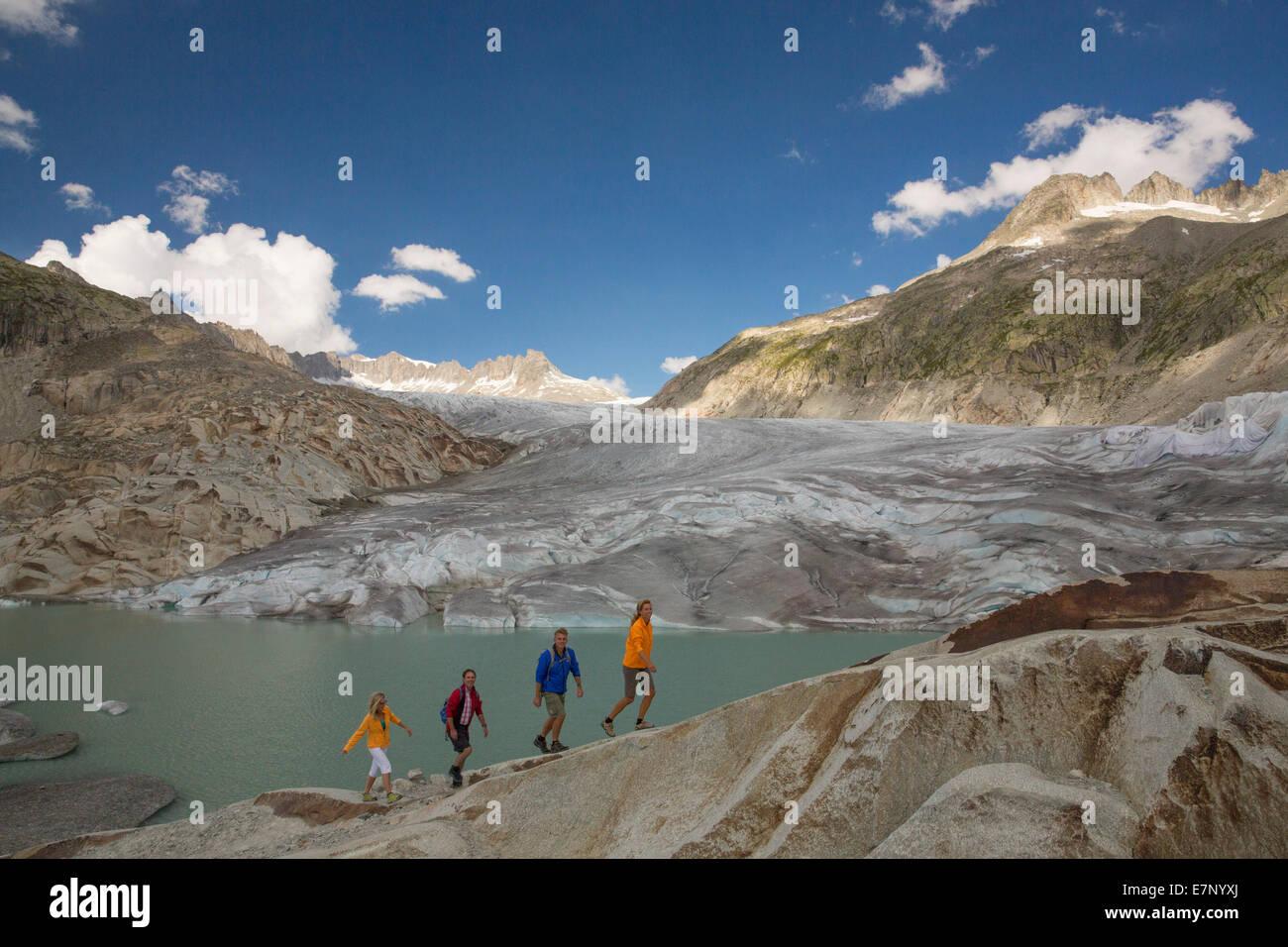 Gletsch VS, walking, hiking, Rhone glacier, Furka Pass, canton, VS, Valais, footpath, walking, hiking, glacier, - Stock Image
