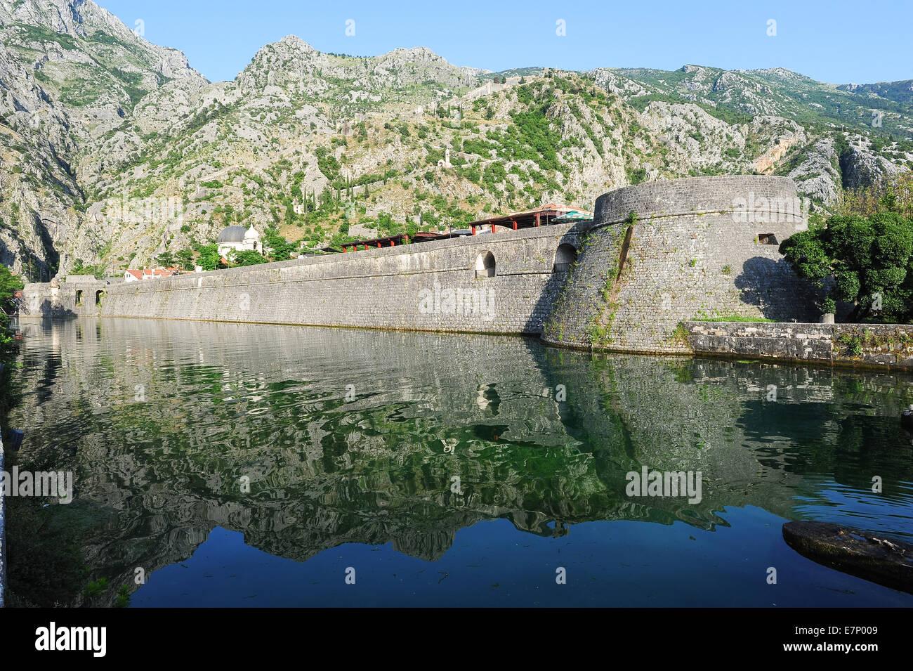 age, Balkans, bay, bocche, boka, bokokotorski, building, cattaro, Europe, European, fortress, heritage, house, kotor, - Stock Image