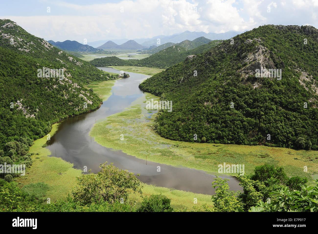 Balkans, scenery, landscape, country, Europe, green, idyllic, jezero, lake, landscape, Montenegro, mountain, mountains, - Stock Image