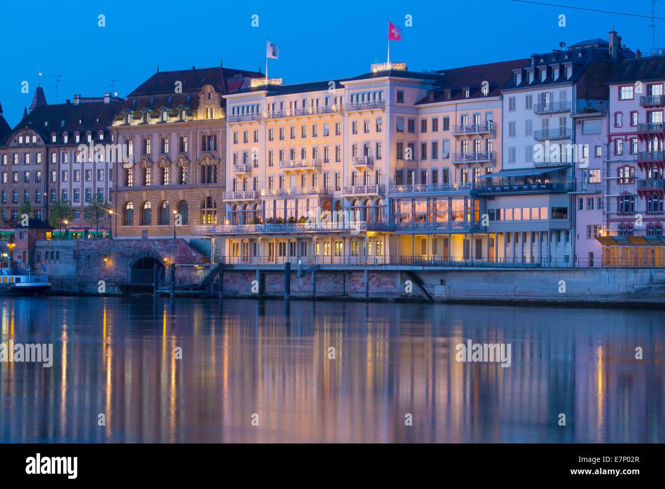 Rhine, hotel, Les trois rois, town, city, Basel, Rhine, at night, river, flow, Switzerland, Europe, - Stock Image