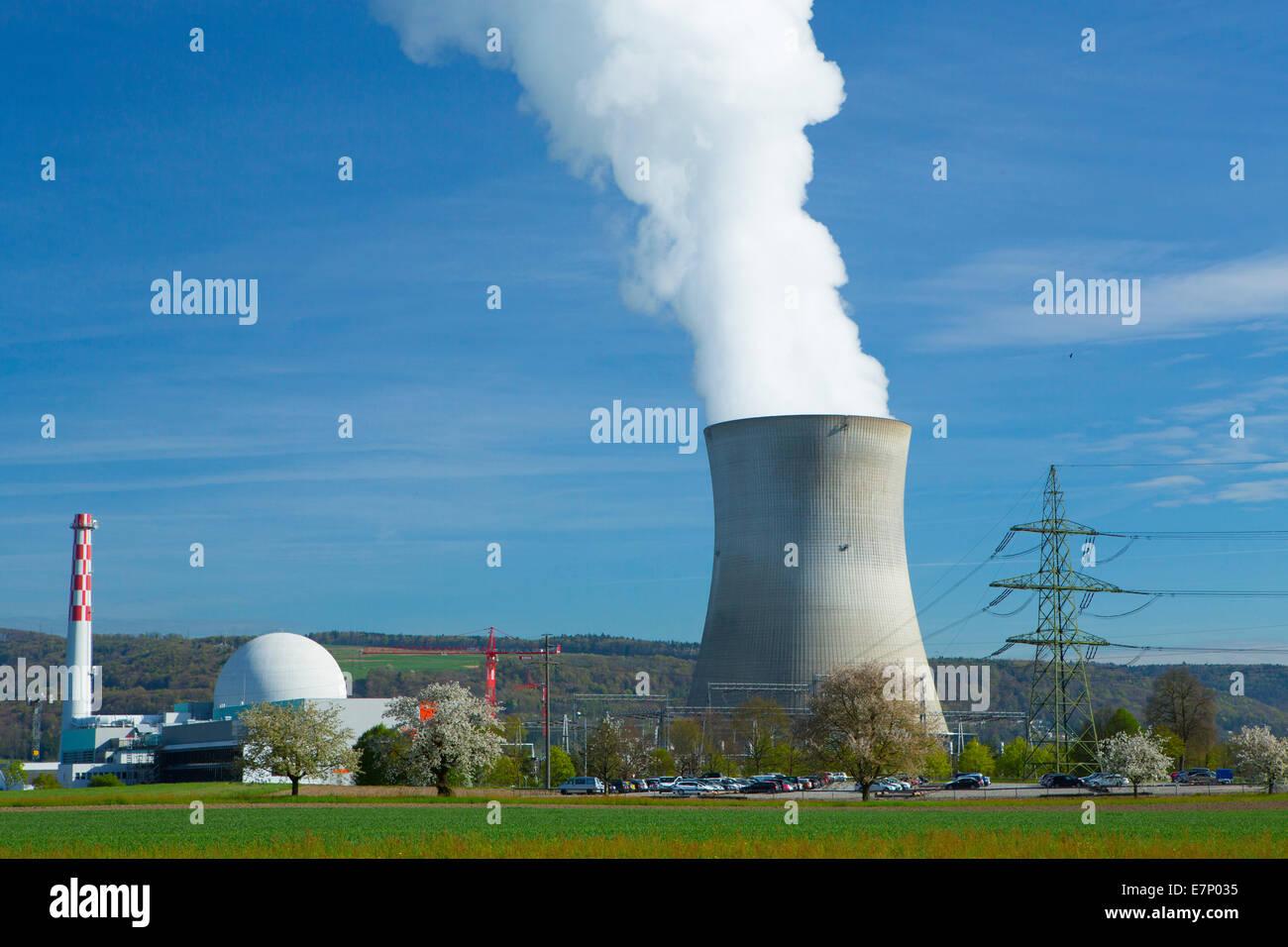 KKW, nuclear power plant, Leibstadt, Atomkraftwerk, Rhine, spring, canton, AG, Aargau, energy nuclear energy, Switzerland, - Stock Image