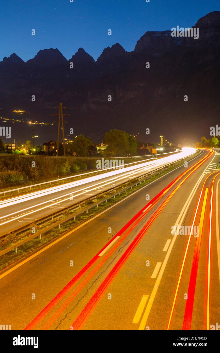 Highway, Flums, Churfirsten, mountain, mountains, night, dark, traffic, SG, canton St. Gallen, Switzerland, Europe, - Stock Image