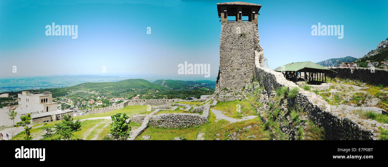 Albania, archaeological Site, Balkans, church, citadel, east, Europe, fortress, history, holiday, kruja, landscape, - Stock Image