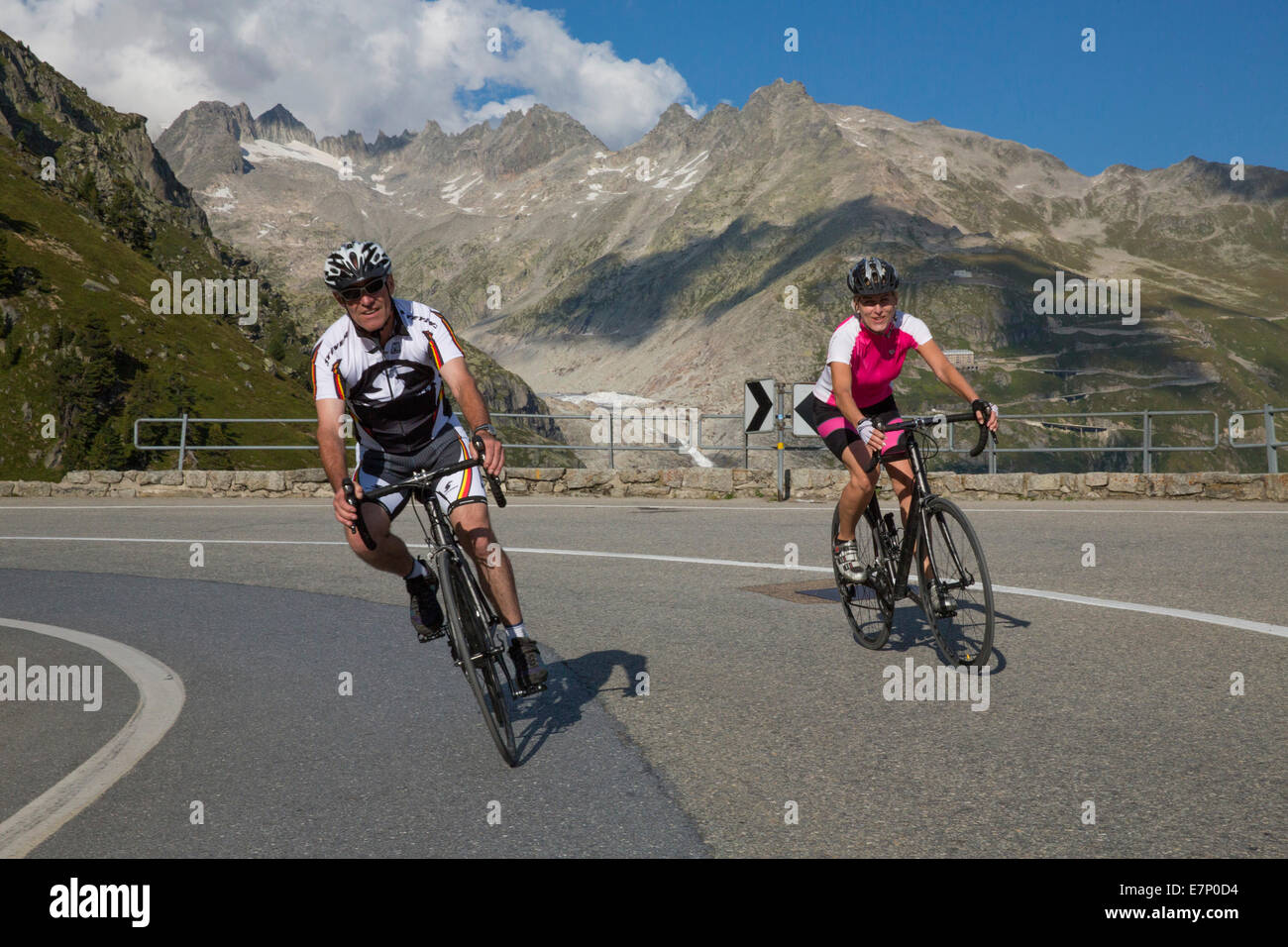 Gletsch VS, riding a bicycle, Grimsel Pass, canton, VS, Valais, glacier, ice, moraine, bicycle, bicycles, bike, Stock Photo