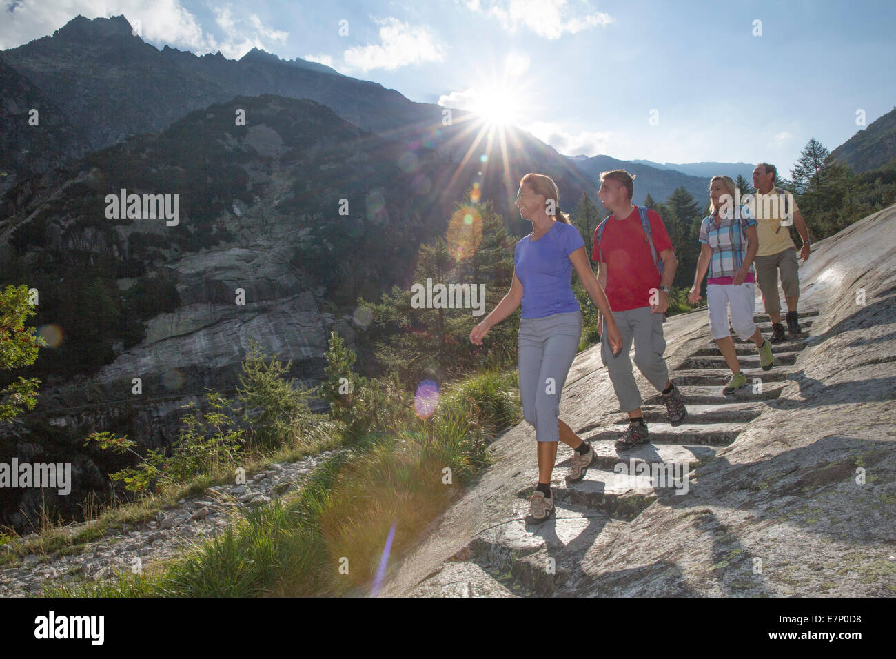 Grimsel Pass, traveller, bridle path, Grimsel Pass, canton Bern, footpath, walking, hiking, mule track, Switzerland, - Stock Image