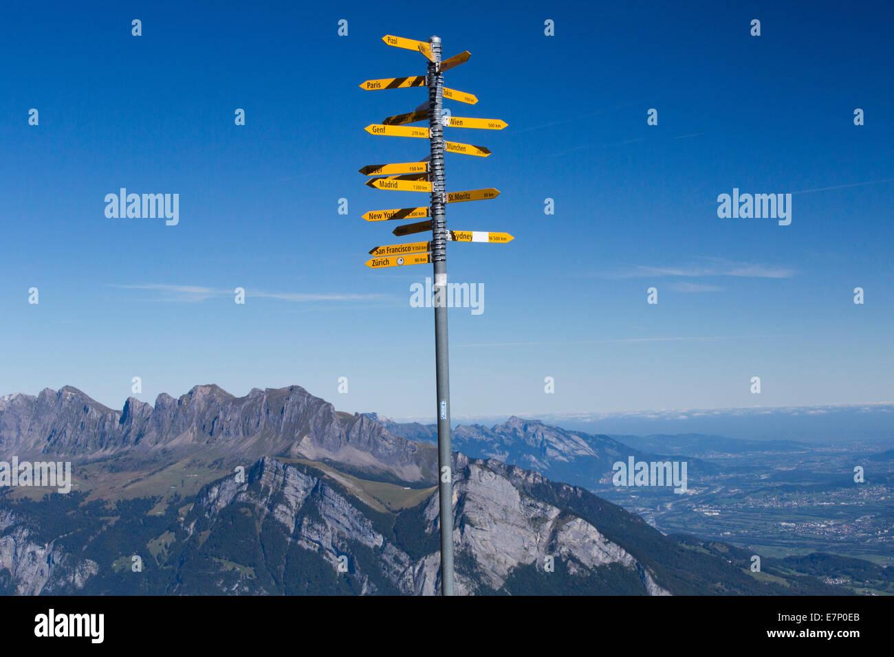 Rhine Valley, signpost, Pizol area, mountain, mountains, SG, canton St. Gallen, footpath, signpost, Switzerland, - Stock Image