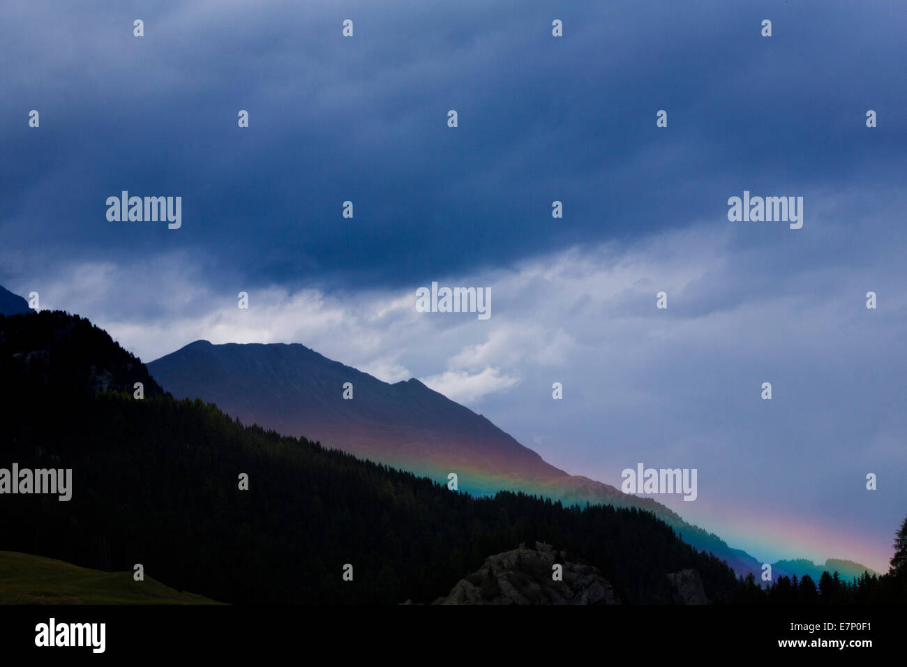 Rainbows, Oberhalbstein, clouds, cloud, mountain, mountains, autumn, weather, canton, GR, Graubünden, Grisons, - Stock Image