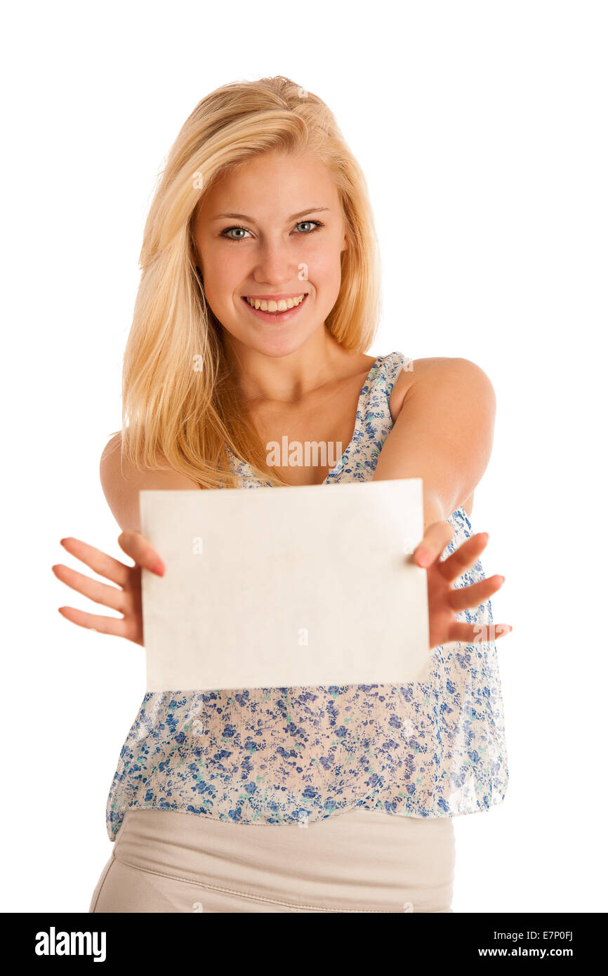 Nde Woman Holding A Blank White Board In Her Hands For Promotional Stock Photo Alamy