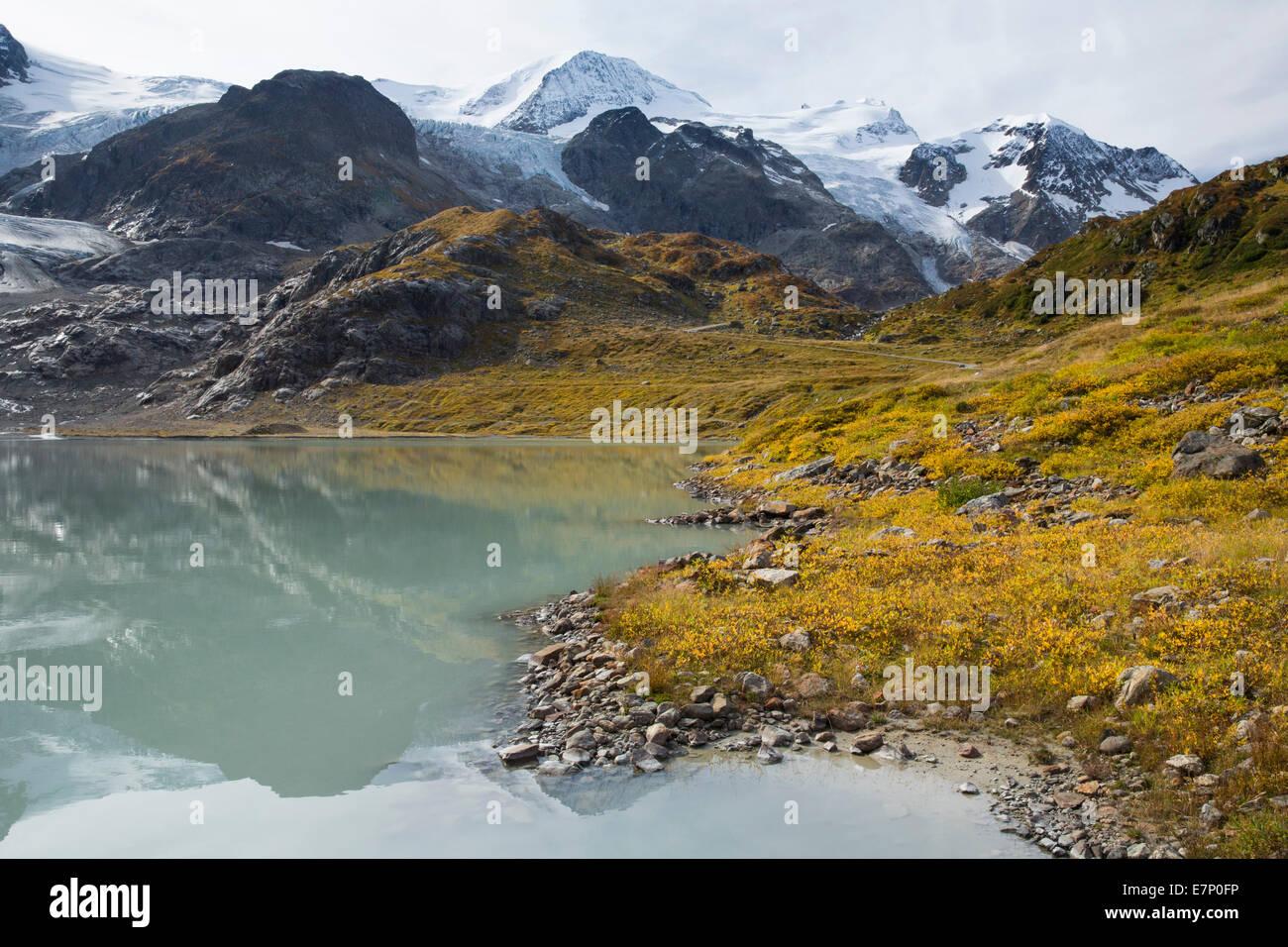 lake Stein, Steinsee, Gwächtenhorn, Tierberg, Susten Pass, clouds, cloud, mountain, mountains, mountain lake, - Stock Image