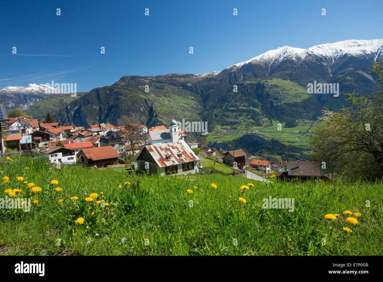 Domleschg, Präz, Heinzenberg, Piz Beverin, Domleschg, GR, canton, Graubünden, Grisons, spring, mountain, - Stock Image