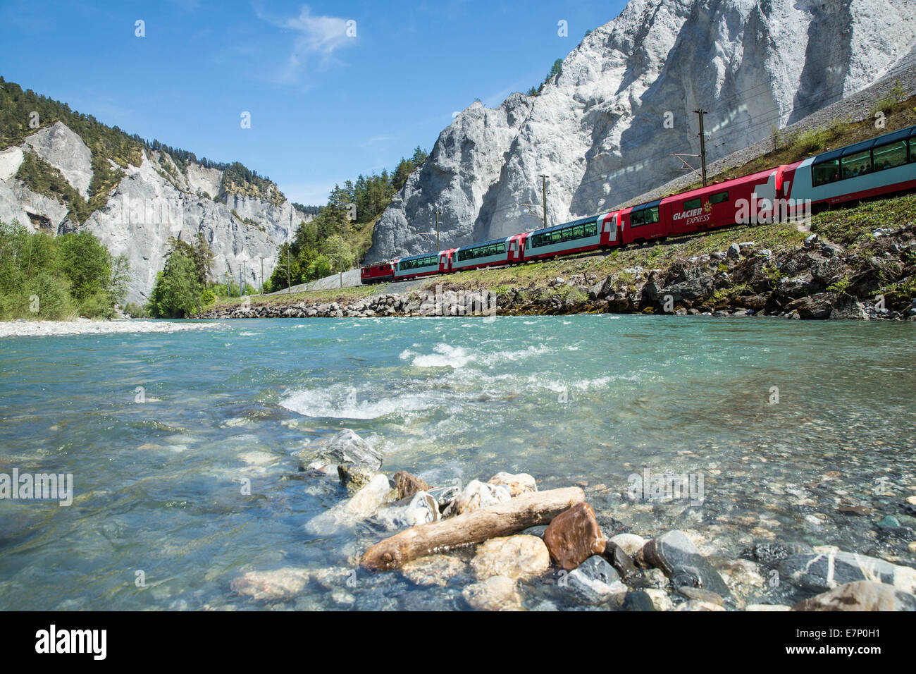 Surselva, Glacier express, Rhine gulch, Versam, GR, canton, Graubünden, Grisons, spring, river, flow, body - Stock Image