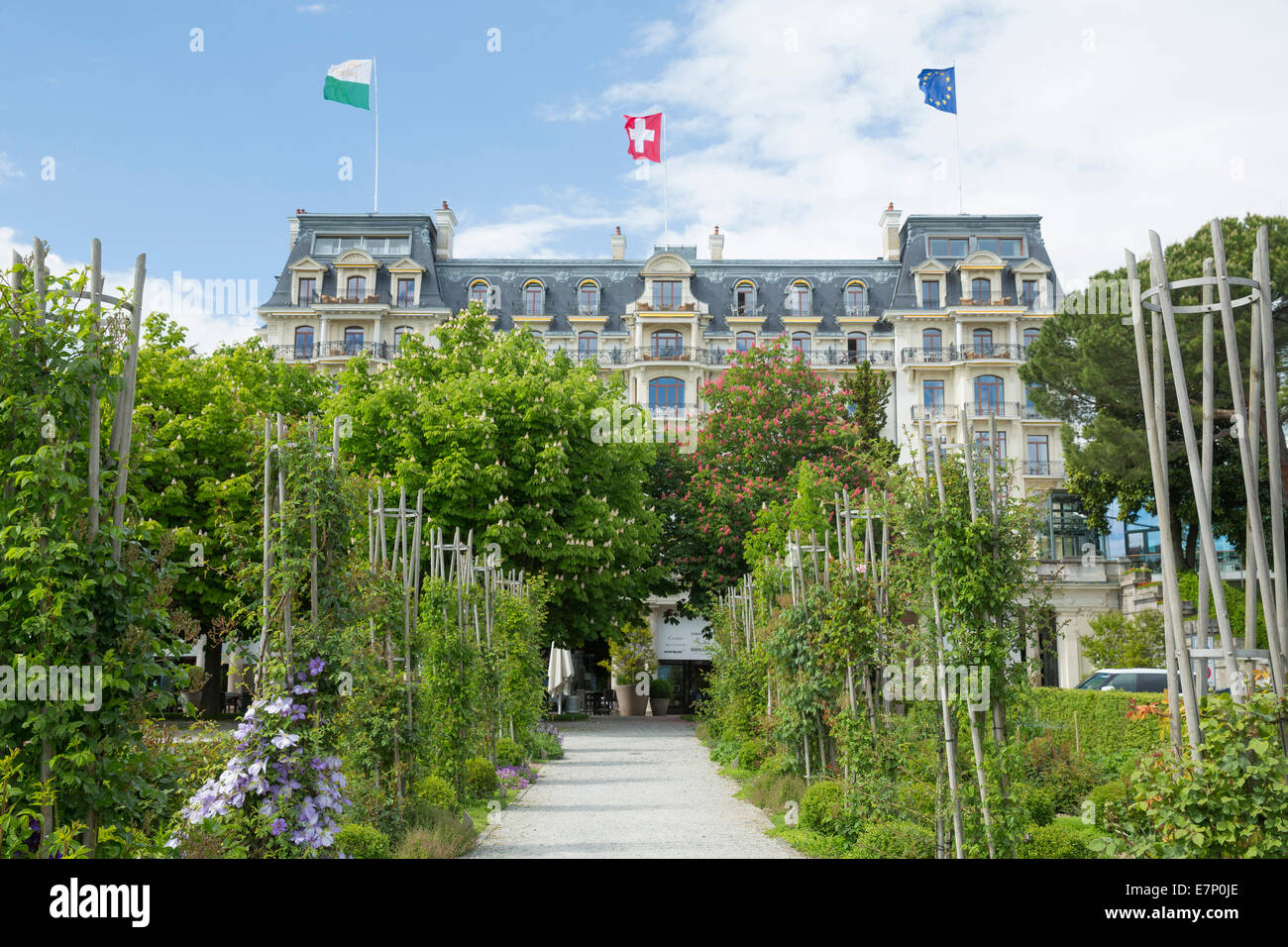 Hotel, beau Rivage Palace, Lausanne, canton, VD, Vaud, Western Switerland, Romandie, catering, restaurant, hotel, - Stock Image